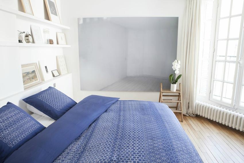 Marie labarelle linge de lit housse de couette et for Parure de lit bleu et blanc